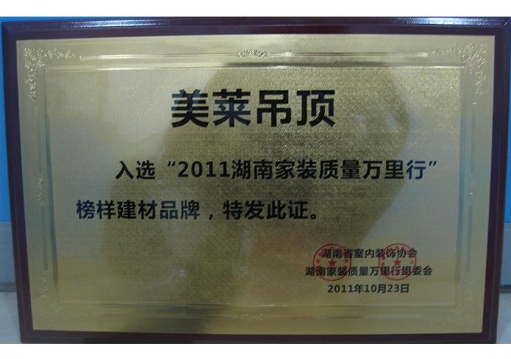 """""""2011湖南家装质量万里行""""榜样建材品牌"""