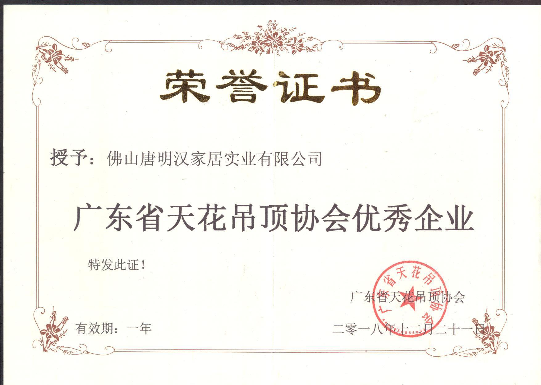 2018年美莱优秀企业证书